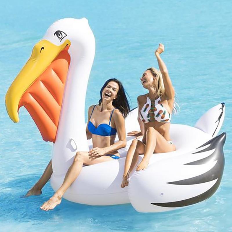 220cm gigante Pelican Piscina flotador tucán paseo en anillo de natación de fiesta de playa inflable del tubo divertido juguetes para adultos colchón de aire Boia Piscina