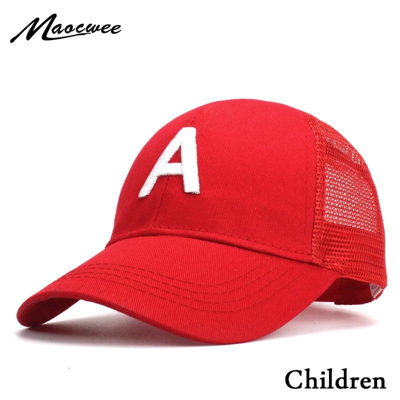 Bordado de letras A gorras de Baseball para niños chico s, gorra de Hip Hop con dibujos animados, gorra Snapback de verano para niña, gorra de béisbol, sombrero de bebé chico Bone