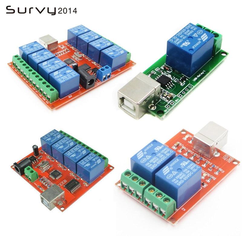 1 2 4 8 canales 5V/12V interruptor de Control de relé USB programable Control de computadora para el hogar inteligente