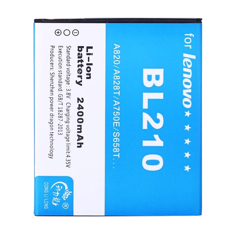 50 uds/batería de BL210 para Lenovo A536 A606 A656 A658T A750E A766 A770E S650 S658T S820 S820E 2400mAh baterías de teléfono