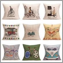 Housse de coussin de maison de vélo   Housse doreiller décorative en coton lin pour voiture, coussin de soleil de canapé de chambre à coucher