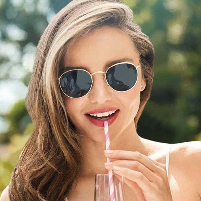 Round Sunglasses Women Female Coating Reflective Mirror Glasses UV400 Vintage Brand Designer Trend C