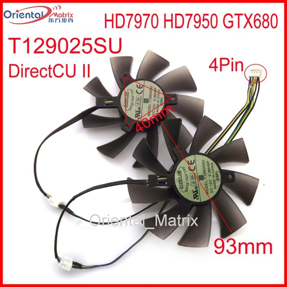 2 pçs/lote T129025SU 93mm 40*40*40mm 12 V 0.38A 4Pin Fan VGA Para ASUS HD7970 GTX680 HD7950 DirectCU II Fã Placa Gráfica