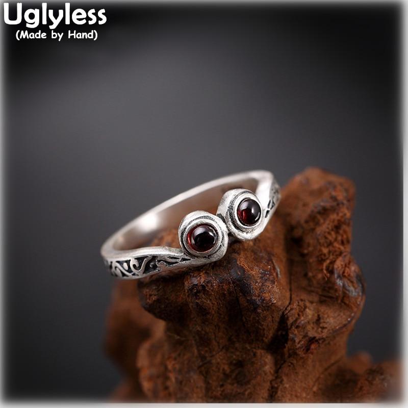 Uglyless Real 990 joyería fina de plata Natural granate anillo de dedo rojo grabado hecho a mano Vintage patrones mujeres anillos bisutería étnica