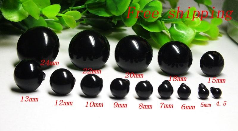 Оптовая продажа 100 шт./лот 4,5-24 мм черного цвета Пластиковые безопасные игрушки глаза для игрушки плюшевый медведь украшение
