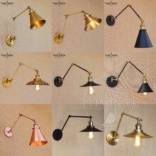 Moderne Vintage Loft Verstelbare Industriële Metalen Wandlamp Retro Swing Arm Messing LED Wandlamp Land Stijl Blaker Lamp Armatuur