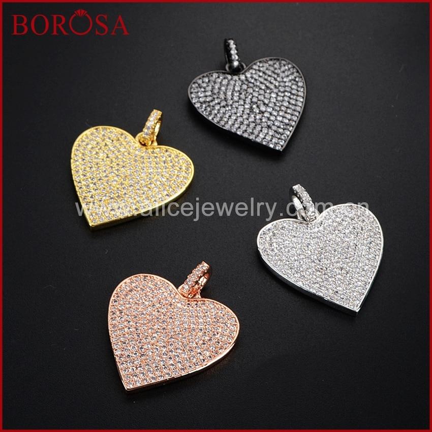BOROSA-دلاية على شكل قلب مرصعة بالزركونيا المكعبة ، دلاية معدنية لصنع الأساور ، 4 أحجار الراين المكعبة المطلية بالكهرباء WX321