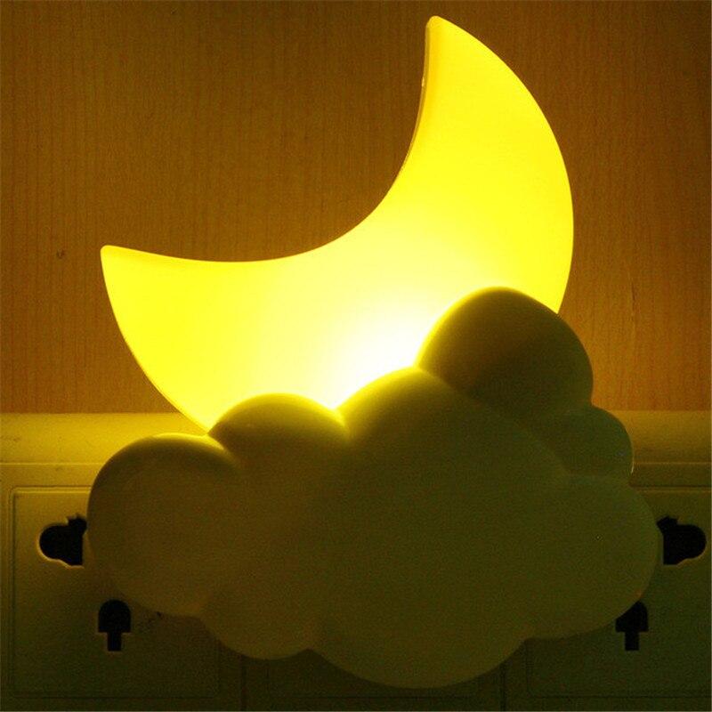 AC110V 220V Night Lights Cartoon LED Moon Cloud Auto Light Sensor Children Baby Bedroom Lamp Home Decoration Wall Socket Lamp CF