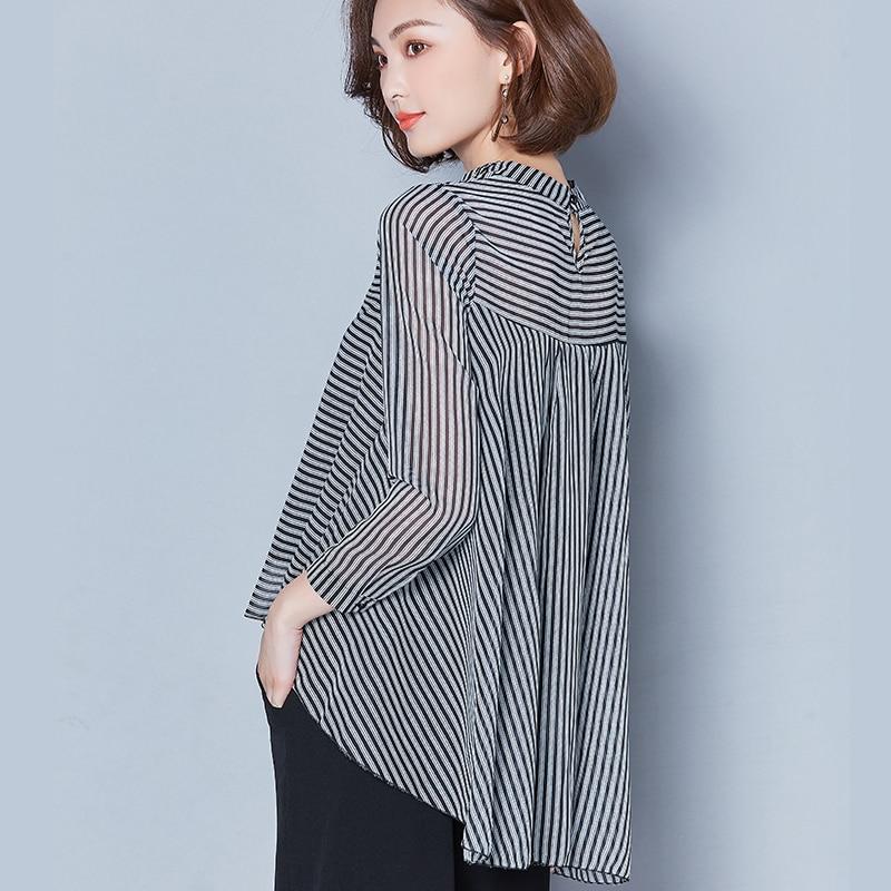AliExpress - Striped Long Sleeve Sunscreen Blouses Women 2020 New Casual Chiffon Turn-Down Collar Shirt Plus Size Women Clothing Blusas Mujer