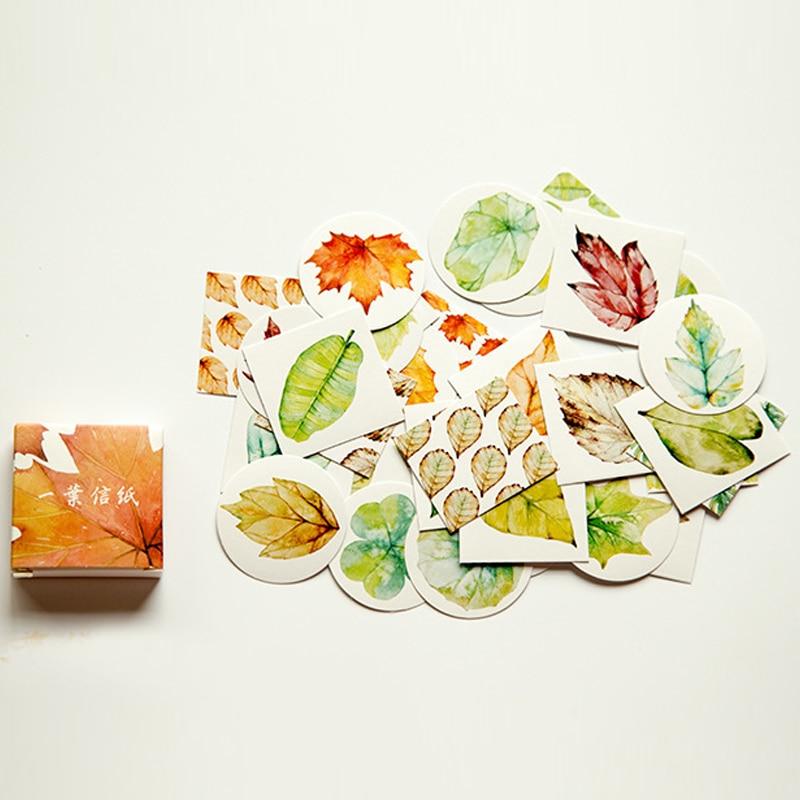 Lindo dibujo de hoja Bloc de notas pegatinas publicado Kawaii planificador Scrapbooking adhesivo de papelería Escolar suministros
