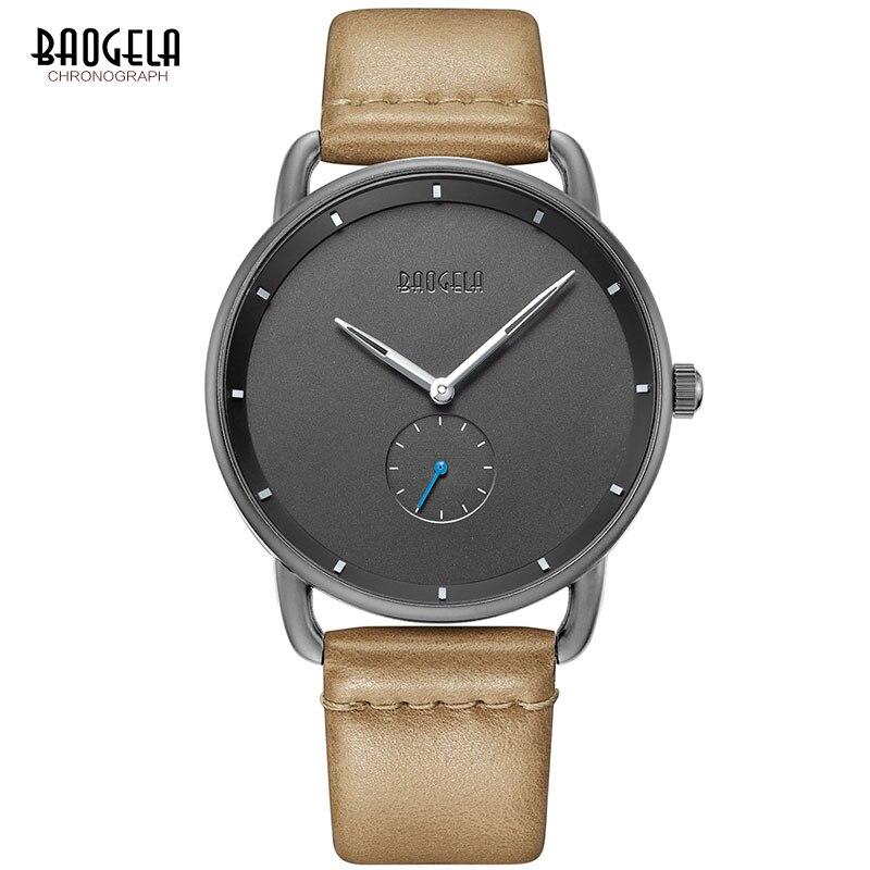 BAOGELA Мужские Простые кварцевые часы премиум класса повседневные часы с кожаным ремешком минимализм водонепроницаемые наручные часы для мужчин 1806 светло-коричневый