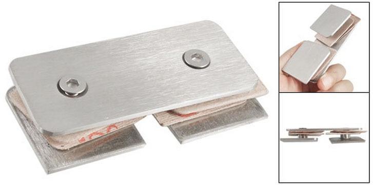 Ducha sin marco 10mm de vidrio grueso doble Clip soporte para Panel lateral 2 piezas