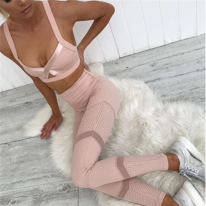NCLAGEN 2018 New Fashion Women Pink Leggings Bodycon Mesh Patchwork Elastic Workout Slim Fit GYMs Yoging Sporting Leggins