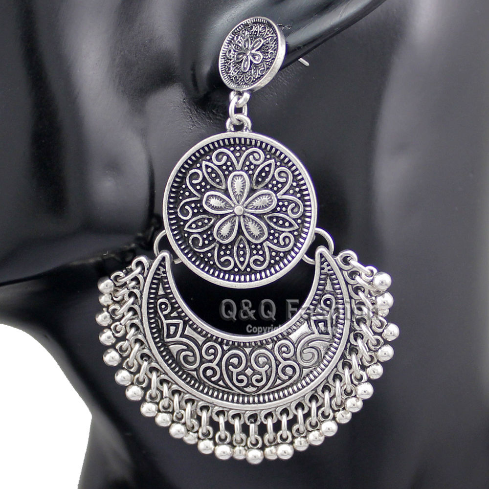 Vintage Kalten Silber Überzogene Tribal Ethnic Bali Jhumka Jhumki Brokat Perle Lotus Mexiko Gypsy Baumeln Ohrringe Schmuck Neue