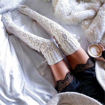 Medias de algodón de alta calidad sexy muslo alto sobre la rodilla calcetines para mujer color sólido grueso cálido calcetines largos