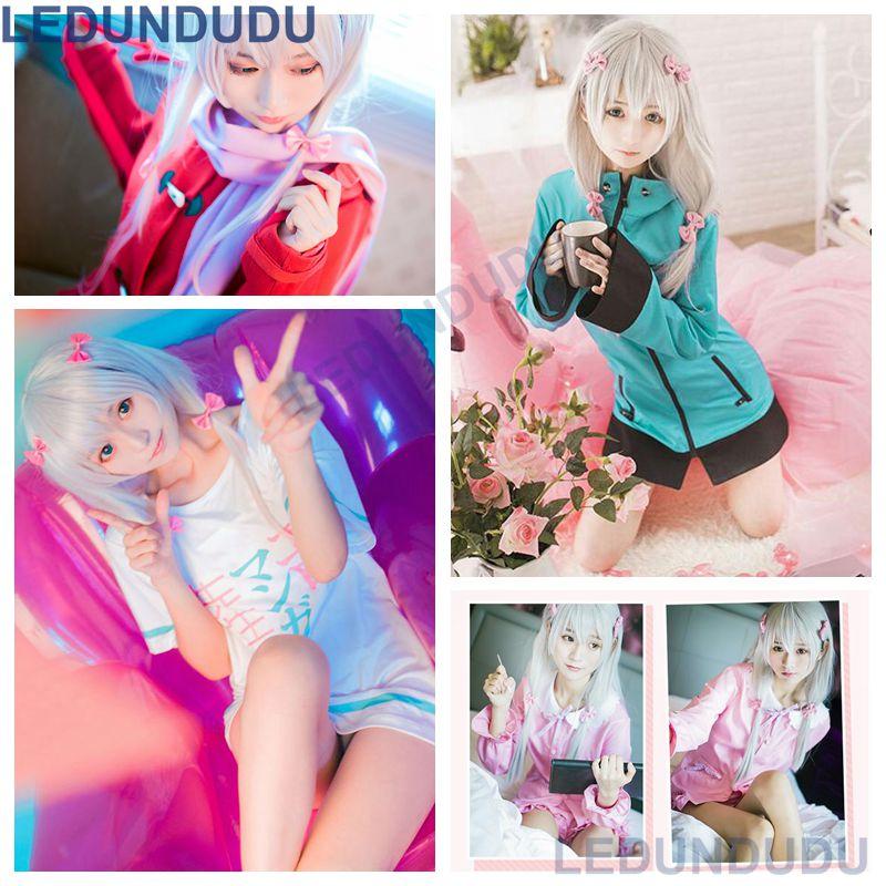Disfraz de Cosplay de Anime Eromanga Sensei, Izumi Sagiri, abrigo de Cosplay, ropa de dormir, pijama rosa, camiseta, Disfraces para fiesta de Halloween