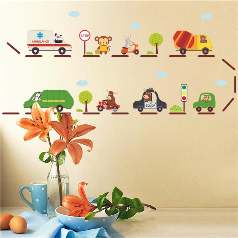 % Cartoon Car highway wall stickers for kids rooms kindergarten children nursery room decoration on the wall car decals boy's