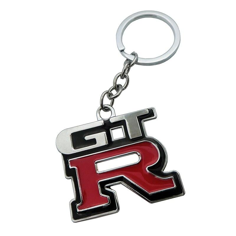 LLavero de Metal 3D para coche, 1 Uds., para parrilla llavero de aleación de Zinc, llavero de Metal cromado, anillo para Nissan GTR, accesorios en forma de coche