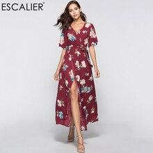 ESCALIER mode impression été robe fendue femmes à volants épaules dénudées robe Maxi robe de soleil col en v bohême Sexy robe de plage