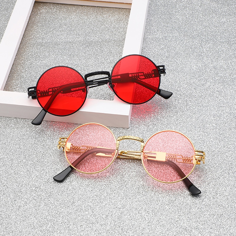 New Retro Round Pink Sunglasses Women Brand Designer Sun Glasses For Women Men Alloy Mirror Female E