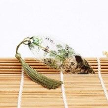 Signet de peinture de paysage style chinois   Marque-page créatif en cadeau de fête, marque-page à collectionner avec feuilles et veine naturelles, papeterie créative