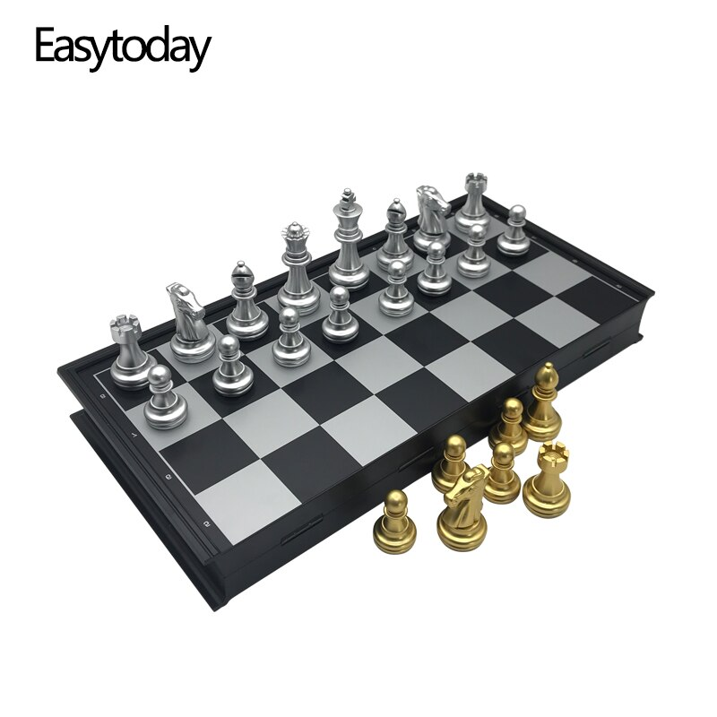Easytoday Plastic Chess Game Set Folding Chessboard Magnetic Gold and Silver Color Chess Pieces Standard Competition Supplies