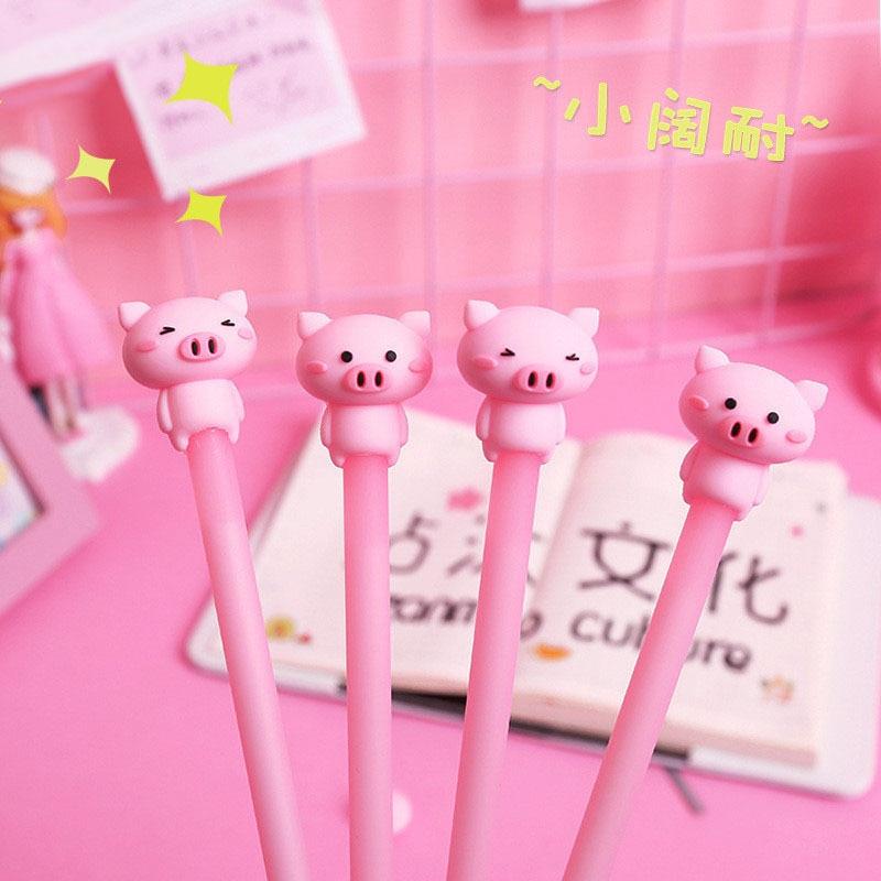 40 Pcs Cutie Poeder Meisje Piggy Neutrale Pen Cartoon Dier Pen Meng Object Siliconen Water Pen Vrouwelijke Student Briefpapier