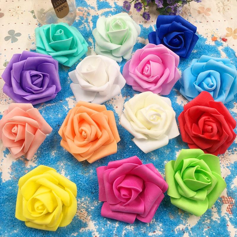 De 6 a 7 cm cabeza de artificiales de espuma de PE de tres capas, decoración de coche de boda, rosa, arco de tracería pared DIY, flores artificiales 10 Uds.