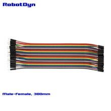 """Перемычка Dupont wire, 12 """"(300 мм), папа-мама (M/F) 3x40L ленты = 3 ленты. Всего 120 линий."""
