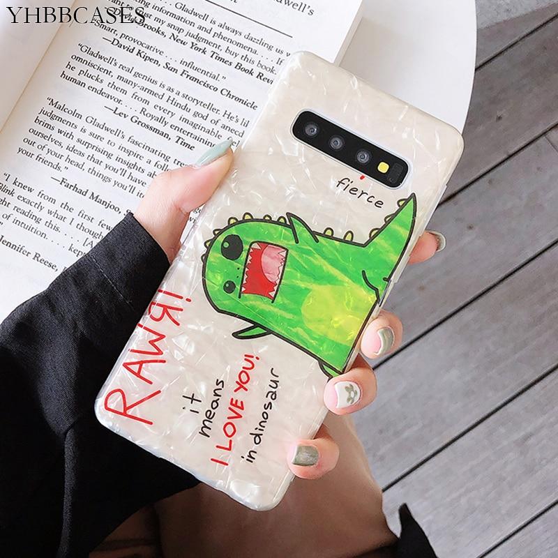 YHBBCASES мягкий чехол с мультяшной улыбкой динозавра для Samsung Galaxy S10 5G S8 S9 Plus для Samsung Note 10 8 9 Vogue Conch чехол для телефона