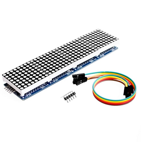 Módulo de matriz de puntos MAX7219, módulo de Control de chip único, pantalla 4 en 1 con línea dupont 5P (H6A4)