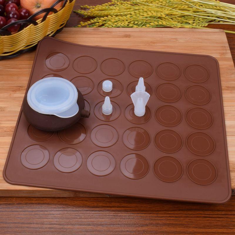 Силиконовый комплект для макарон, набор форм для выпечки, 30 полостей, коврик для пирожных Макарон и десертов, декоративные насадки, инструмент для выпечки, коврик для духовки SQ301
