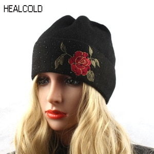 Flower Embroidery Winter Beanie Knitted Hat Women Diamond Rhinestone Wool Beanies Skullies Female Cap Hat Gorro