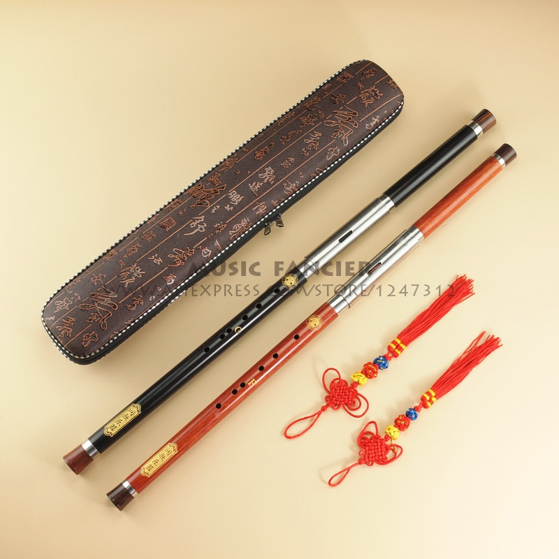 Chinese Traditional High Quality Detachable Single-Pipe Cross-Bblown Flute/Bawu Ebony Ba Wu Key of G, F, C, bB