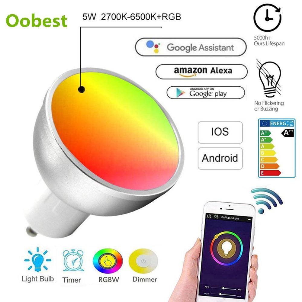 Умные лампы GU10 WiFi светодиодный светильник Bombillas 5 Вт RGB + Вт с регулируемой яркостью лампада домашний декор приложения удаленная работа с Alexa/Google/IFTTT