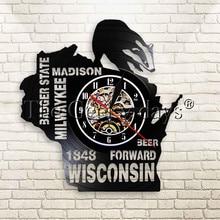 1 шт. Барсук State Wall Art Milwaykee Madison Beer Forward Wisconsin виниловые часы мужские пещеры Бар знак настенные часы винтажные