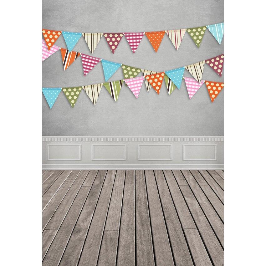 Fondos De Cumpleaños banderín patrón Foto fondo gris fondos de fotografía de pared fondos de vinilo personalizados para estudio fotográfico