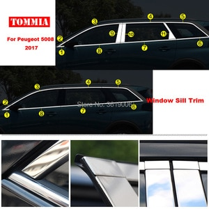 TOMMIA Full Window Middle Pillar Molding Sill Trim Chromium Styling Strips Stainless Steel For Peugeot 5008 2017
