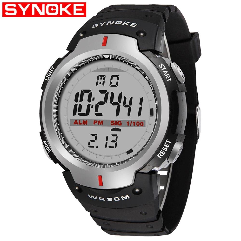 Relojes SYNOKE para Hombre, reloj Digital LED a prueba de agua 30 M, para exteriores, para Hombre, cronómetro de muñeca deportivo, Relojes para Hombre, dijital kol saati