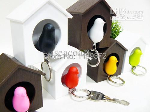100pcs/lot Free Shipping Lover Sparrow Key Ring Birdhouse Keychain Gadget Home Bird Nest Wall Hook