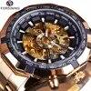 Forsining – montre squelette automatique pour hommes marque de luxe entièrement dorée de Sport de styliste à la mode horloge décontractée