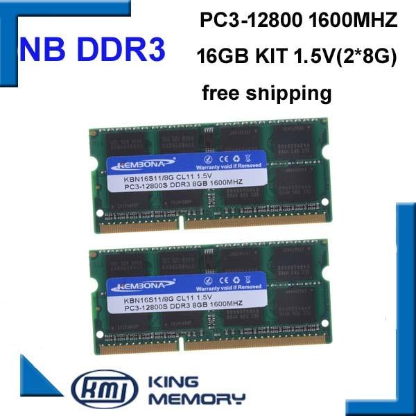 KEMBONA سريع سرعة SODIMM محمول ram DDR3 16GB (عدة من 2 قطعة ddr3 8gb)1600MHZ PC3 12800S 1.5V 204pin ram الذاكرة