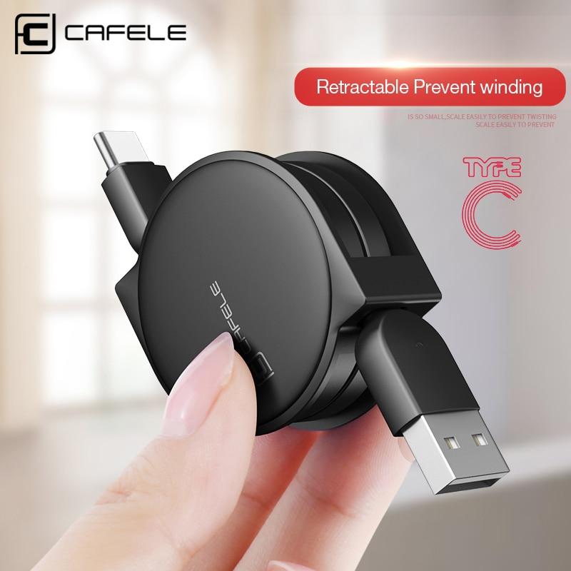 CAFELE Original USB Versenkbare Typ c Kabel USB Daten Sync Ladekabel für samsung S8 huawei p9 p10 für Xiaomi 5X a1 ZUK Z1 Z2