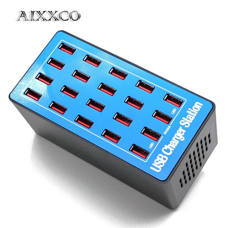 AIXXCO-شاحن هاتف خلوي عالمي ، محطة شحن USB 20 منفذ 20 أمبير 100 واط ، شاحن سطح مكتب لأجهزة iphone