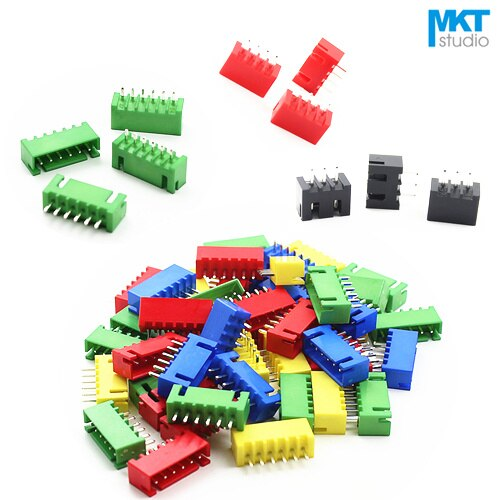 1000 piezas 3 P XH 2,54mm paso XH2.54 Pin recto macho caja cabeza oblea Rojo Negro verde azul amarillo
