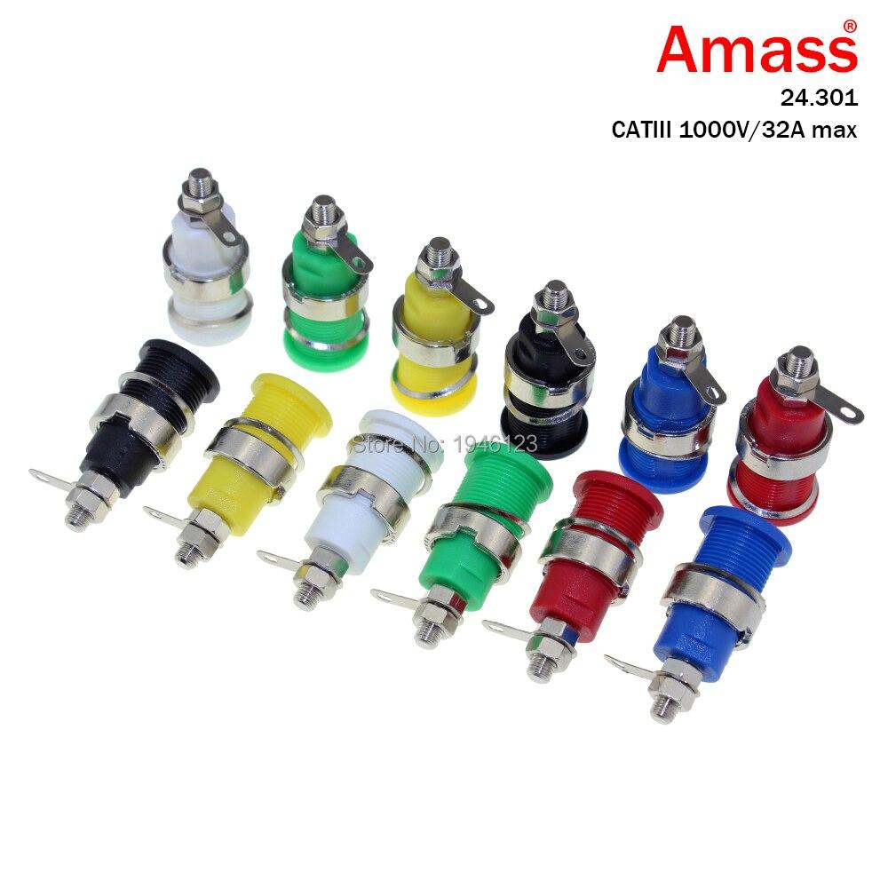 10 unids/lote AMASS Banana Plug Jack bloques de terminales 24.301 4mm amplificador Terminal conector vinculante poste soldado 6MM Prongs