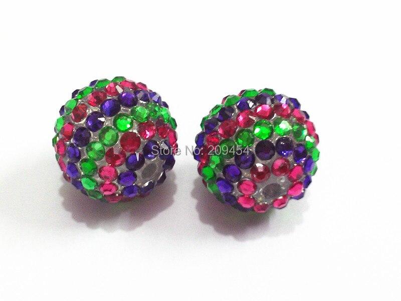 Hotsale !! 20mm 100pcs/lot  Hotpink/Dark Purple/Green  Striped Resin Rhinestone Ball Beads,Chunky Beads For Kids Jewelry Making