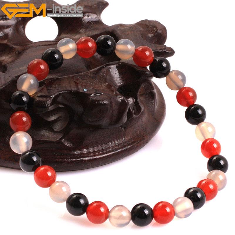 Gem-inside Natural redonda Lisa negro gris ágatas Rojas Malá elástica pulsera joyería para hombre mujer tamaño seleccionable