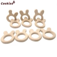 beech wooden rabbit natural handmade wooden teether diy wood personalized pendent eco friendly safe baby teether toys