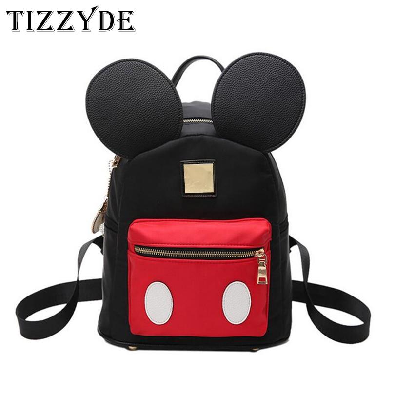 Mickey school bags for teenage girls Cute Ears Backpack women small Kawaii pack Bag Travel waterproof mochila  WCL36